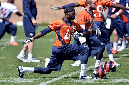 Paul Webster. Denver Broncos' paul Webster stretches during NFL football rookie camp, in Englewood, CO
