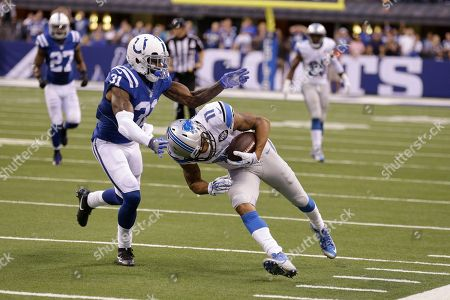 Marvin Jones, Antonio Cromartie. Indianapolis Colts defensive back Antonio Cromartie (31) tackles Detroit Lions wide receiver Marvin Jones (11) during the second half of an NFL football game in Indianapolis, . The Lions defeated the Colts 39-35