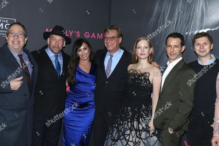 Stock Picture of Mark Gordon (Producer), Bill Camp, Molly Bloom, Aaron Sorkin (Director, Screenwriter), Jessica Chastain, Jeremy Strong, Michael Cera, Madison McKinley and Leopoldo Gout
