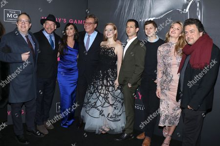 Stock Photo of Mark Gordon (Producer), Bill Camp, Molly Bloom, Aaron Sorkin (Director, Screenwriter), Jessica Chastain, Jeremy Strong, Michael Cera, Madison McKinley and Leopoldo Gout