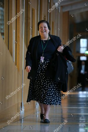 Scottish Parliament First Minister's Questions - Jackie Baillie makes her way to the Debating Chamber