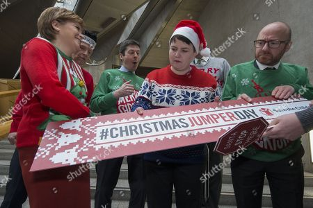Scottish political leaders wear Christmas Jumpers for Save the Children - Nicola Sturgeon, First Minister of Scotland and Leader of the Scottish National Party (SNP), Willie Rennie, Leader of the Scottish Liberal Democrats, Ken Macintosh, The Presiding Office of The Scottish Parliament, Ruth Davidson, Leader of the Scottish Conservative and Unionist Party, and Patrick Harvie, Co-convener of the Scottish Greens