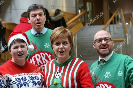 Scottish political leaders wear Christmas Jumpers for Save the Children - Ruth Davidson, Leader of the Scottish Conservative and Unionist Party, Ken Macintosh, The Presiding Office of The Scottish Parliament, Nicola Sturgeon, First Minister of Scotland and Leader of the Scottish National Party (SNP), and Patrick Harvie, Co-convener of the Scottish Greens