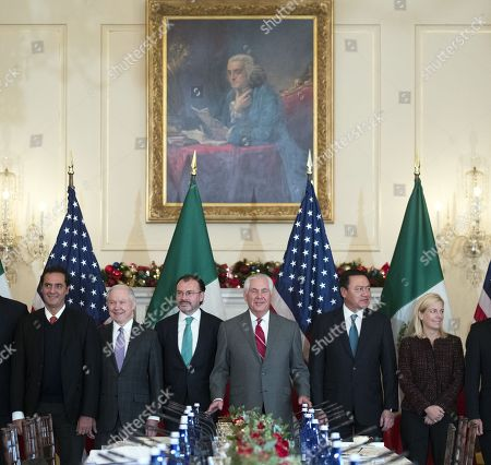 US Secretary of State Rex Tillerson (3-R), Mexican Foreign Secretary Luis Videgaray (3-L), acting Mexican Attorney General Alberto Elias Beltran (L), US Attorney General Jeff Sessions (2-L) Mexican Secretary of Interior Miguel Angel Osorio Chong (2-R) and US Secretary of Homeland Security Kirstjen Nielsen (R) participate in the Strategic Dialogue on Disrupting Transnational Criminal Organizations at the US State Department in Washington DC, USA, 14 December 2017.