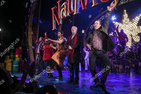 Daniel Boys (Paul Maddens), Sarah Earnshaw (Jennifer Lore), Simon Lipkin (Mr Poppy), Louis Walsh (Hollywood Producer) and Jamie Chapman (Patrick Burns) during the curtain call