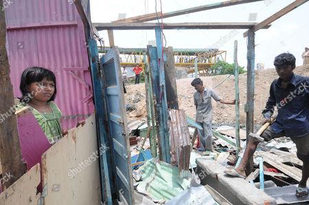 Editorial photo of Rubina Ali Qureshi's home is bulldozed in Garib Nagar, Bandra in Mumbai, India - 20 May 2009