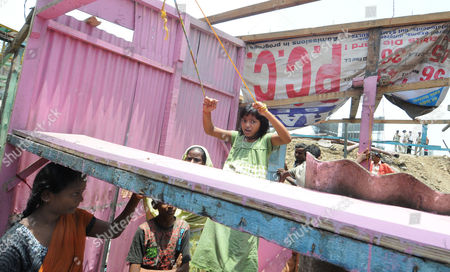 Editorial image of Rubina Ali Qureshi's home is bulldozed in Garib Nagar, Bandra in Mumbai, India - 20 May 2009