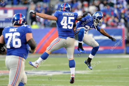 New York Giants fullback Henry Hynoski (45) celebrates a touchdown catch with teammate David Wilson, right, as Chris Snee (76) looks on during the second half of an NFL football game in East Rutherford, N.J