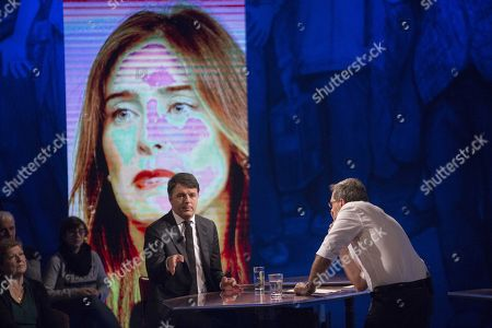 Stock Image of TV presenter Corrado Formigli during an interview with Matteo Renzi