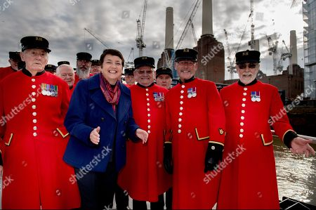 Val Shawcross  Deputy Mayor of London for Transport joins Chelsea Pensioners getting on board for the launch of the MBNA Thames Clippers River Bus from Battersea Power Station's new pier