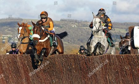 THEATRE TERRITORY (left, Sam Waley-Cohen) jumps with SPARKLING RIVER (right) Cheltenham