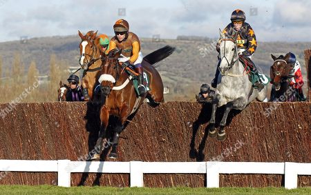 THEATRE TERRITORY (left, Sam Waley-Cohen) jumps with SPARKLING RIVER (right, Dave Crosse) Cheltenham