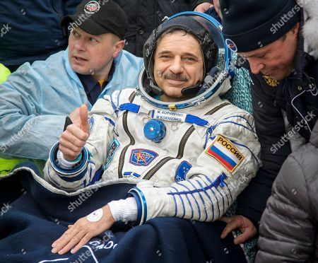 Expedition 46 Landing. International Space Station (ISS) crew member Mikhail Kornienko of Russia gestures after landing near the town of Dzhezkazgan, Kazakhstan, . U.S. astronaut Scott Kelly and Kornienko returned to Earth on Wednesday after spending almost a year in space in a ground-breaking experiment foreshadowing a potential manned mission to Mars