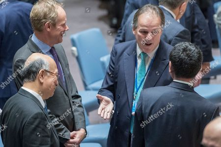 Mark Field, Taro Kono, Koro Bessho, Matthew Rycroft. Mark Field British Minister of State for Asia and the Pacific, second from right, speaks to Japanese Foreign Minister Taro Kono, right, Japanese Ambassador to the United Nations Koro Bessho, left, and British Ambassador to the United Nations Matthew Rycroft before a high level Security Council meeting on the situation in North Korea, at United Nations headquarters