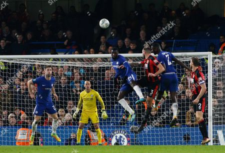 Stock Picture of Wilfredo Caballero of Chelsea and Gary Cahill of Chelsea look on as Tiemoue Bakayoko of Chelsea, Antonio Rudiger of Chelsea and Steve Cook of Bournemouth compete for the ball following the corner