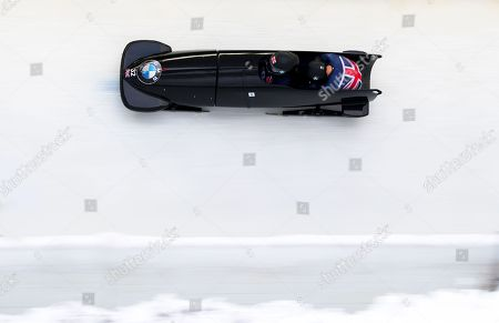 Bradley Hall and Nicholas Gleeson (GB) during the BMW IBSF World Cup Bobsleigh at Igls Austria