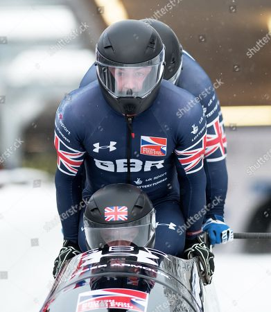 Bradley Hall, Nicholas Gleeson, Andrew Matthews and Gregory Cackett of the Great Britain Bobsleigh Team compete at the BMW IBSF World Cup 4-man Bobsleigh in Igls Austria