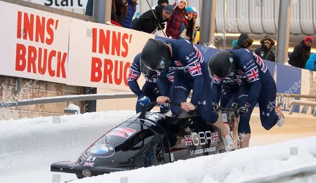 Bradley Hall, Nicholas Gleeson, Andrew Matthews and Gregory Cackett of the Great Britain Bobsleigh Team compete at the BMW IBSF World Cup 4-man Bobsleigh in Igls Austria, finishing in 13th place