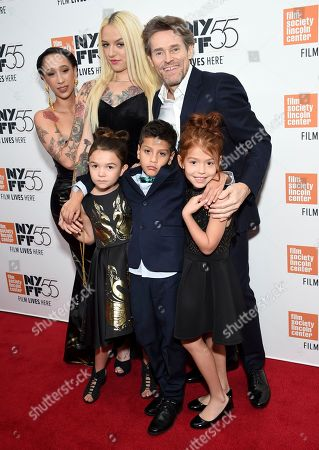 """Mela Murder, Bria Vinaite, Willem Dafoe, Brooklynn Prince, Christopher Rivera, Valeria Cotto. Actors Mela Murder, left, Brooklynn Prince, Bria Vinaite, Christopher Rivera, Willem Dafoe, Valeria Cotto attend special screening of """"The Florida Project"""", during the 55th New York Film Festival, at Alice Tully Hall, in New York"""