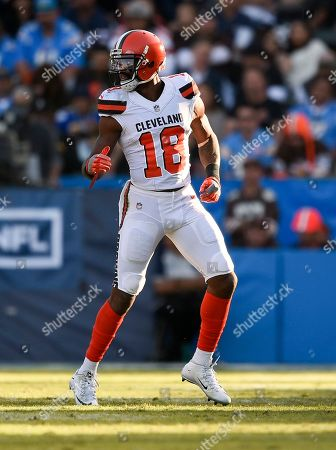 Cleveland Browns wide receiver Kenny Britt in action during an NFL football game against the Los Angeles Chargers in Carson, Calif