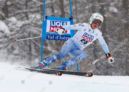 United States' Julia Mancuso competes during an alpine ski, women's World Cup super-G, in Val d'Isere, France
