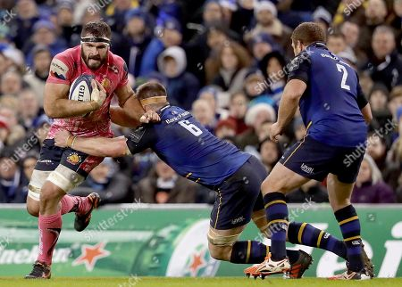 Leinster vs Exeter Chiefs. Exeter's Jack Yeandle with Sean O?Brien of Leinster