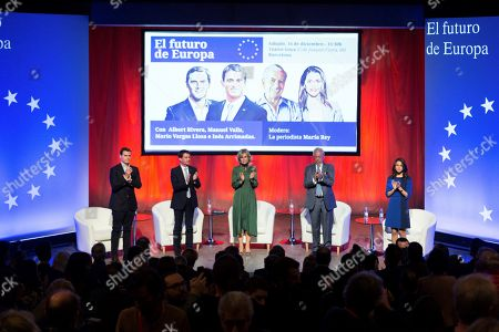 Leader of Spanish Ciudadanos Party, Albert Rivera (L), former French Prime Minister, Manuel Valls (2-L), head of the candidate list for Ciudadanos in Catalan regional elections, Ines Arrimadas (R), Literature Nobel Prize, Mario Vargas Llosa (2-R), and journalist Maria Rey (C) attend an electoral campaign event at the Goya Theatre in Barcelona, Spain, 16 December 2017. Catalan regional elections will be held on 21 December 2017, as the Spanish central government applied article 155 of the Constitution after the regional Parliament declared the unilateral declaration of independence on 27 October 2017.