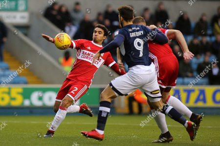 Fabio Da Silva of Middlesbrough clears the ball upfield during Millwall vs Middlesbrough, Sky Bet EFL Championship Football at The Den on 16th December 2017