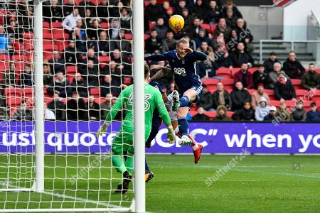 Matthew Mills (5) of Nottingham Forset heads the ball behind for a corner during the EFL Sky Bet Championship match between Bristol City and Nottingham Forest at Ashton Gate, Bristol