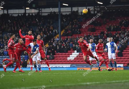 Leon Best of Charlton Athletic scores an own goal to give Blackburn Rovers the lead 1-0 during the Sky Bet League One match at Ewood Park, Blackburn