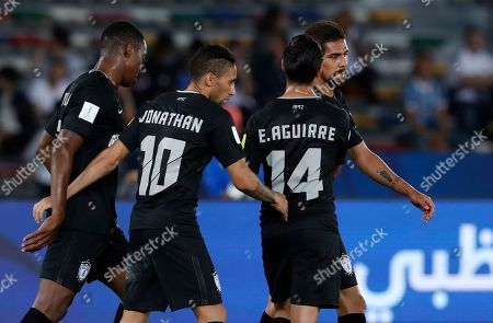 Pachuca's Jonathan Urretaviscaya, 2nd left, celebrates with his teammates after scoring the opening goal during the Club World Cup third place soccer match between Al Jazira and CF Pachuca at Zayed Sports City stadium in Abu Dhabi, United Arab Emirates