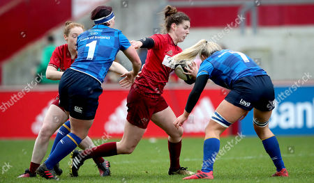 Munster vs Leinster. Munster's Rachel Allen with Lindsay Peat and Ciara Cooney of Leinster