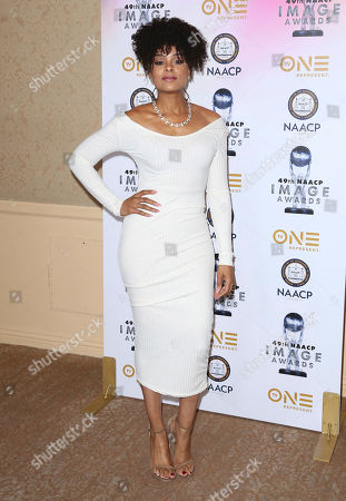 Demetria McKinney arrives at the 49th NAACP Image Awards Nominees' Luncheon at the Beverly Hilton Hotel, in Beverly Hills, Calif