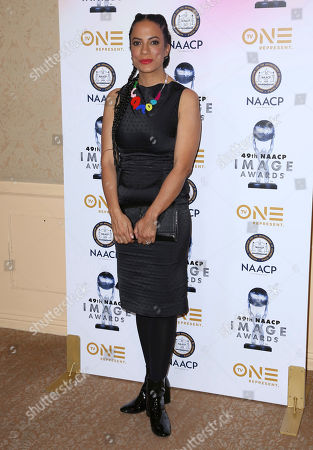 Janine Sherman Barrois arrives at the 49th NAACP Image Awards Nominees' Luncheon at the Beverly Hilton Hotel, in Beverly Hills, Calif