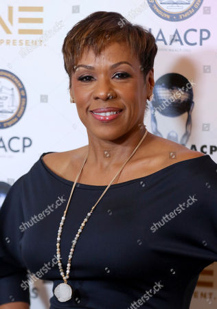 Stock Image of Author Sheri Riley arrives at the 49th NAACP Image Awards Nominees' Luncheon at the Beverly Hilton Hotel, in Beverly Hills, Calif