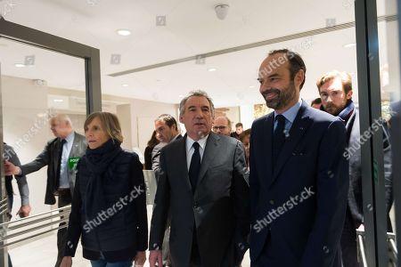 Marielle de Sarnez, Francois Bayrou and French Prime Minister Edouard Philippe