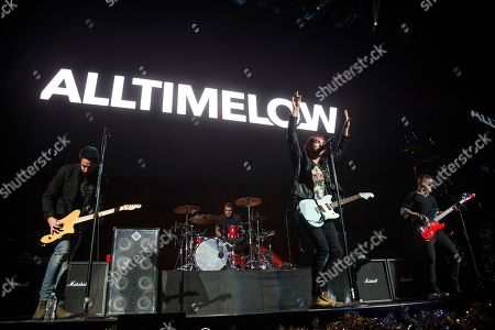 Jack Barakat, Alex Gaskarth, Zack Merrick, Rian Dawson. Jack Barakat, from left, Alex Gaskarth, Zack Merrick and Rian Dawson of All Time Low perform at 93.3 FLZ's Jingle Ball at Amalie Arena, in Tampa, Fla
