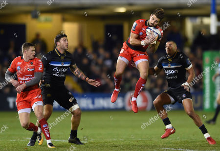 Hugo Bonneval of RC Toulon claims the ball in the air