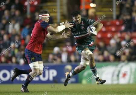 Stock Picture of Valentino Mapapalangi of Leicester Tigers pushes off Billy Holland of Munster rugby
