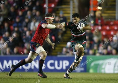 Valentino Mapapalangi of Leicester Tigers pushes off Billy Holland of Munster rugby
