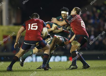 Valentino Mapapalangi of Leicester Tigers tackled by CJ Stander of Munster rugby