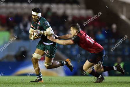 Valentino Mapapalangi of Leicester Tigers takes on the Munster Rugby defence