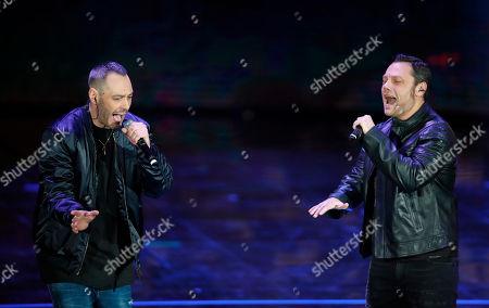 """Fabri Fibra and Tiziano Ferro perform during the Italian State RAI TV program """"Che Tempo che Fa"""", in Milan, Italy"""