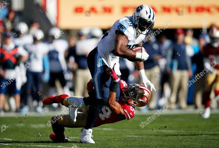 DeMarco Murray, K'Waun Williams. Tennessee Titans running back DeMarco Murray, top, is tackled by San Francisco 49ers defensive back K'Waun Williams during the first half of an NFL football game, in Santa Clara, Calif