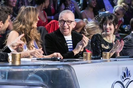 Iris Mittenaere, Jean Paul Gaultier and Nolwen Leroy members of the jury attend the Miss France 2018 beauty pageant in Chateauroux