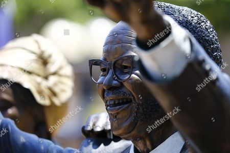 A statue of the founding  ANC President, Oliver Thambo, on display during the 54th ANC National Conference held at the NASREC Convention Centre, Johannesburg , South Africa, 18 December 2017. Cyril Ramaphosa and  Nkosazana Dlamini-Zuma are in a race tosucceed the outgoing President. The ruling ANC has been reeling recently under allegations of corruption and and loss of support from its core voters. The ANC (African National Congress) formally led by Nelson Mandela, led the country to freedom from white rule and the Apartheid system during the first free and fair elections in 1994. The convention ends on 20 December 2017.