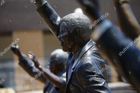 KIM LUDBROOK A statue of late ANC President, Nelson Mandela, on display during the 54th ANC National Conference held at the NASREC Convention Centre, Johannesburg , South Africa, 18 December 2017. Cyril Ramaphosa and  Nkosazana Dlamini-Zuma are in a race tosucceed the outgoing President. The ruling ANC has been reeling recently under allegations of corruption and and loss of support from its core voters. The ANC (African National Congress) formally led by Nelson Mandela, led the country to freedom from white rule and the Apartheid system during the first free and fair elections in 1994. The convention ends on 20 December 2017.