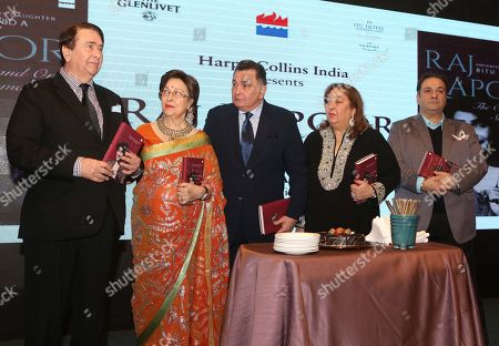 Randhir Kapoor, author Ritu Nanda, Rishi Kapoor, Reema Jain and Rajiv Kapoor