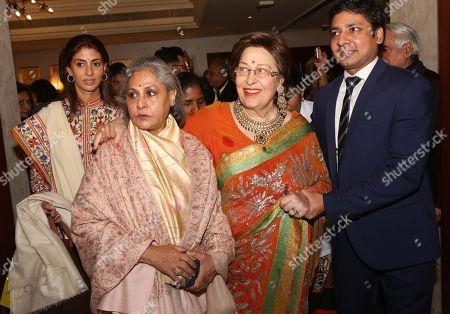 Jaya Bachchan with her daughter Shweta Bachchan Nanda and author Ritu Nanda