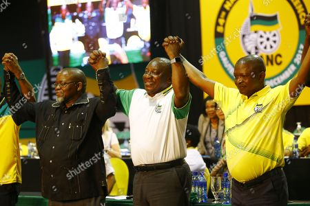 New ANC President Cyril Ramaphosa (C) celebrates on stage after winning the presidential race during the 54th ANC National Conference held at the NASREC Convention Centre, Johannesburg , South Africa, 18 December 2017. President Cyril Ramaphosa Nkosazana Dlamini-Zuma succeeds outgoing ANC President, Jacob Zuma and becomes the 4th ANC President since the end of Apartheid. The ruling ANC has been reeling recently under allegations of corruption and and loss of support from its core voters. The ANC (African National Congress) formally led by Nelson Mandela, led the country to freedom from white rule and the Apartheid system during the first free and fair elections in 1994. The convention ends Wednesday.